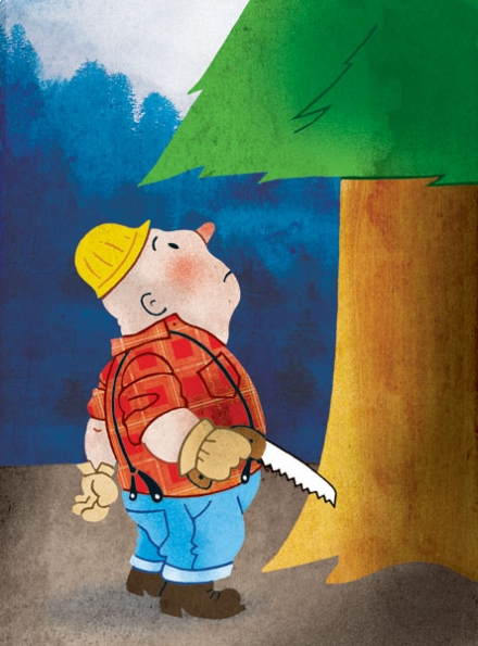 Size Matters savage love, joe newton, illustration, joseph newton, art, lumberjack, size, saw, tree, forest, can't see the forest for the trees, hair removal, size matters